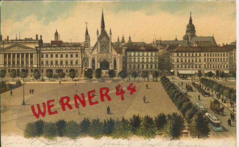Leipzig v. 1901  Kutschen,Strassenbahn,Roessler Hotel  ()  --  siehe Foto !!  (29409) 0