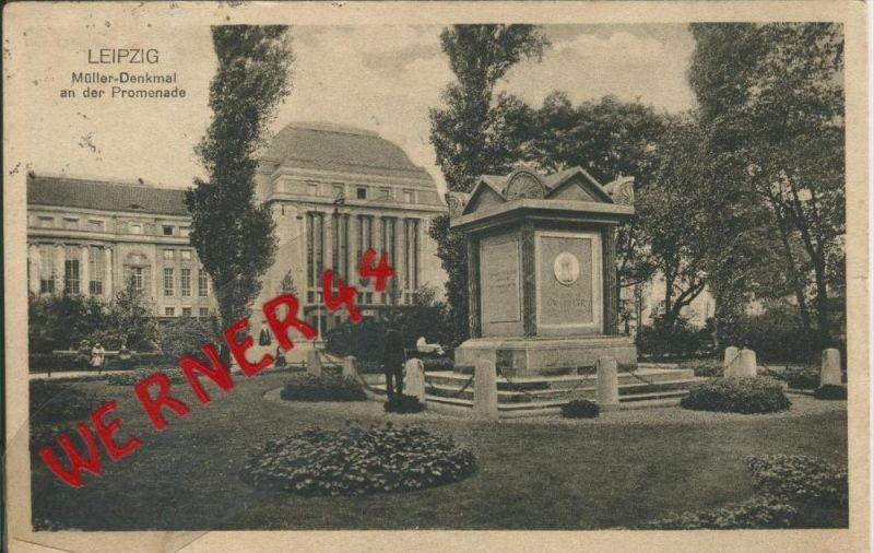 Leipzig v. 1916  Müller Denkmal an der Promenade  ()  --  siehe Foto !!  (29412) 0