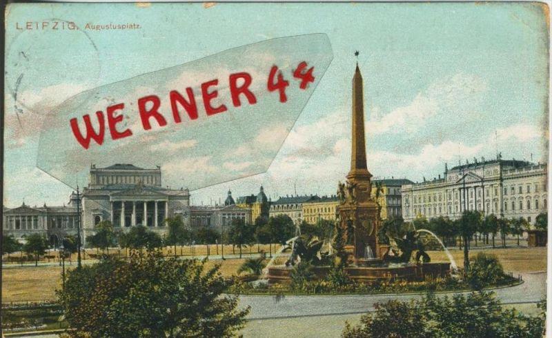 Leipzig v. 1908 Der Augustusplatz mit Brunnen   ()  --  siehe Foto !!  (29415) 0