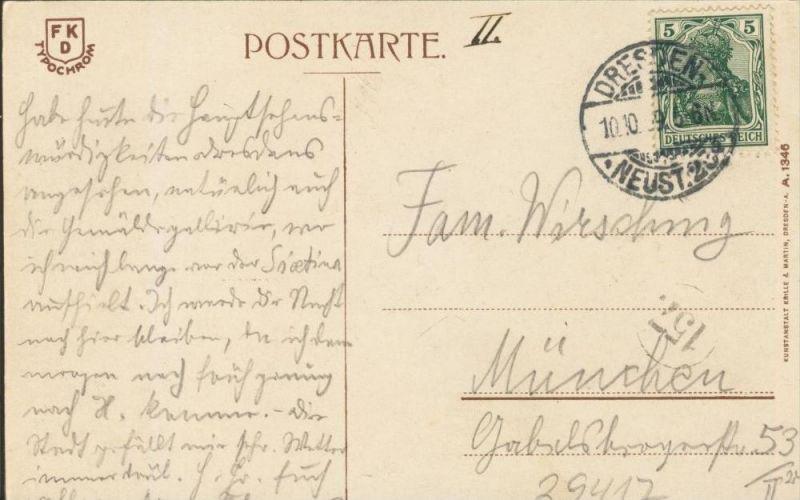 Dresden v. 1909  Kath. Hofkirche & Königl. Schloß  ()  --  siehe Foto !!  (29417) 1