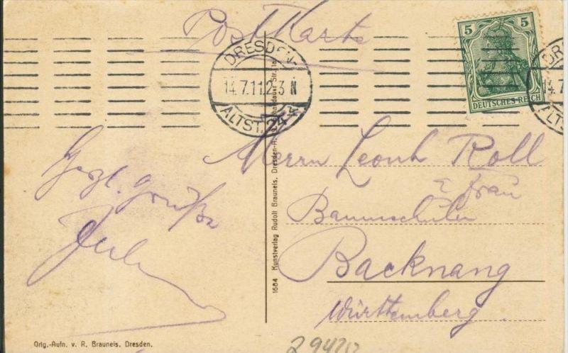 Dresden v. 1911  Blick von Weber`s Hotel  ()  --  siehe Foto !!  (29420) 1