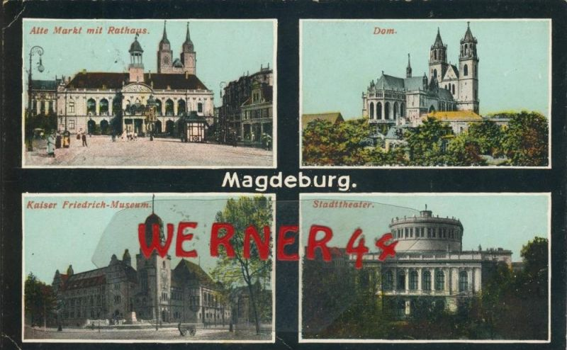 Magdeburg v. 1916  4 Ansichten   (1.W.-Feldpost-Stempel)  --  siehe Foto !!  (29425) 0