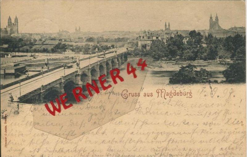 Gruss aus Magdeburg v. 1897  Teil-Stadt-Ansicht   ()  --  siehe Foto !!  (29426) 0
