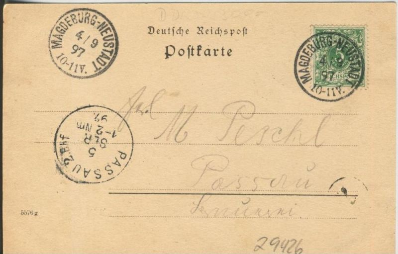 Gruss aus Magdeburg v. 1897  Teil-Stadt-Ansicht   ()  --  siehe Foto !!  (29426) 1