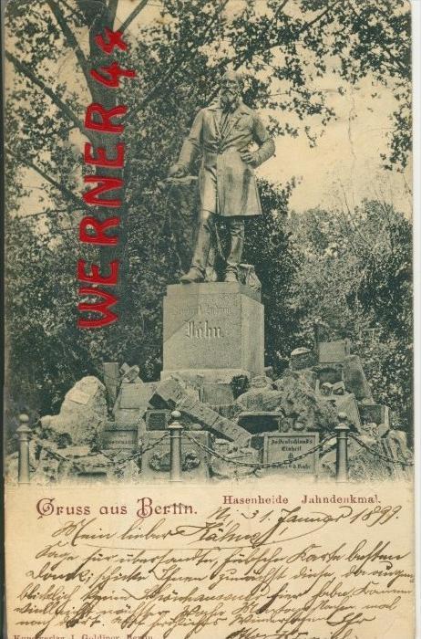 Gruss aus Berlin v. 1899  Hassenheide-Jahndenkmal   ()  --  siehe Foto !!  (29427) 0