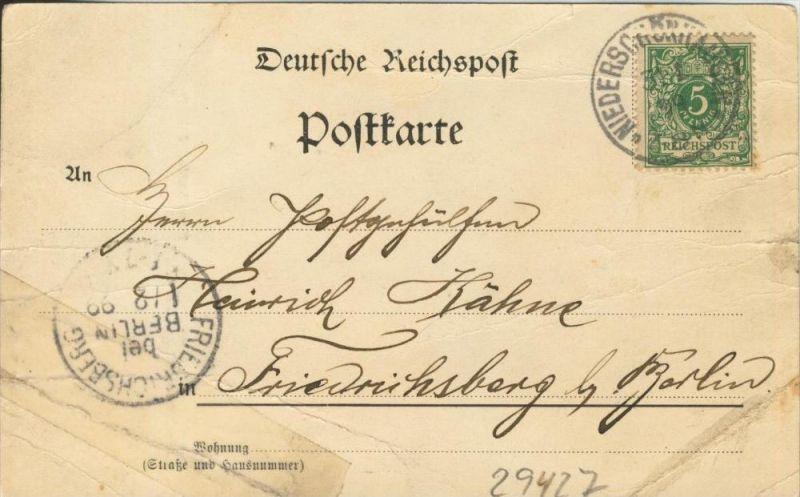 Gruss aus Berlin v. 1899  Hassenheide-Jahndenkmal   ()  --  siehe Foto !!  (29427) 1