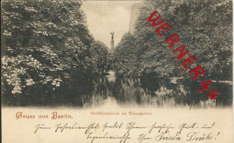 Gruss aus Berlin v. 1901  Goldfischteich im Thiergarten  ()  --  siehe Foto !!  (29428) 0