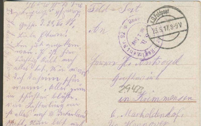 Berlin v. 1917  Unter den Linden mit Palais Kaiser Wilhelm  (1.W.-Feldpost-Stempel)  --  siehe Foto !!  (29433) 1