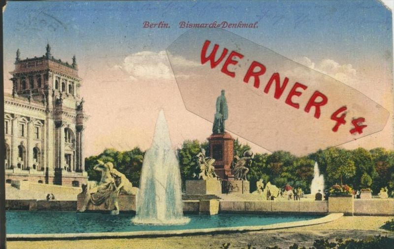 Berlin v. 1915  Bismarck Denkmal  (1.W.-Feldpost-Stempel)  --  siehe Foto !!  (29434) 0