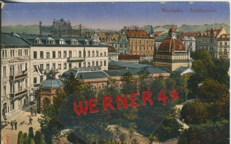 Wiesbaden v. 1931  Teil-Stadt-Ansicht mit Kochbrunnen   ()  --  siehe Foto !!  (29440) 0
