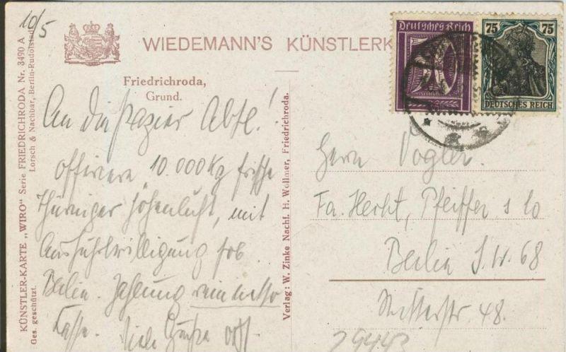 Friedrichsroda v. 1922  Der Grund  ()  --  siehe Foto !!  (29443) 1