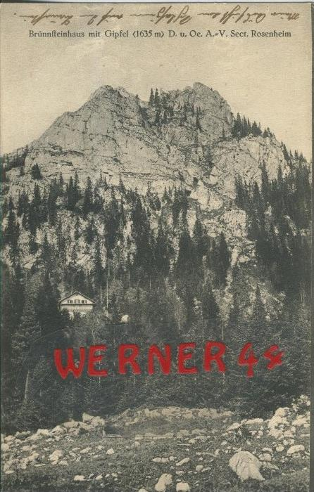Oberaudorf v. 1916  Brünnsteinhaus mit Gipfel  ()  --  siehe Foto !!  (29451) 0
