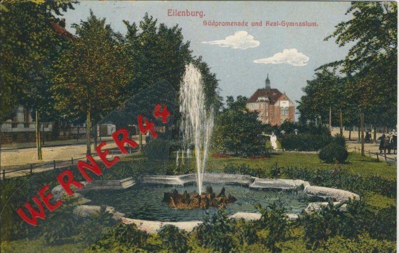Eilenburg v. 1915  Südpromenade und Real Gymnasium  (1.W.-Feldpost-Stempel)  --  siehe Foto !!  (29452) 0