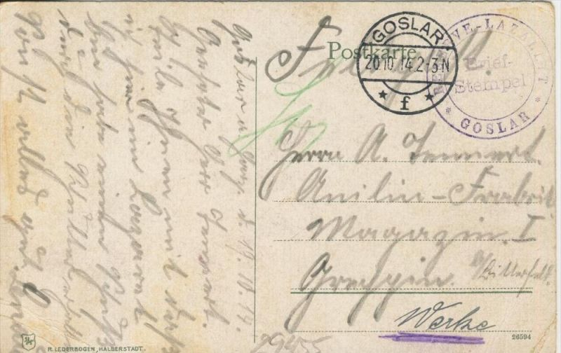 Goslar v. 1914  Das Kaiserhaus  (1.W.-Feldpost-Stempel)  --  siehe Foto !!  (29455) 1