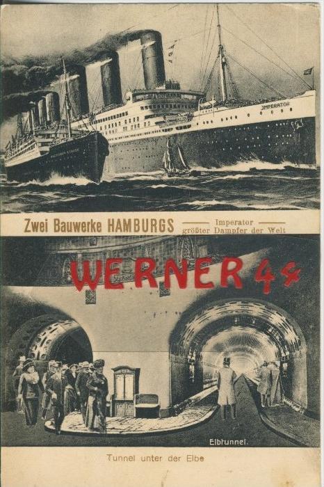 Hamburg v. 1917  Zwei Bauwerke Hamburgs  (1.W.-Feldpost-Stempel)  --  siehe Foto !!  (29457) 0