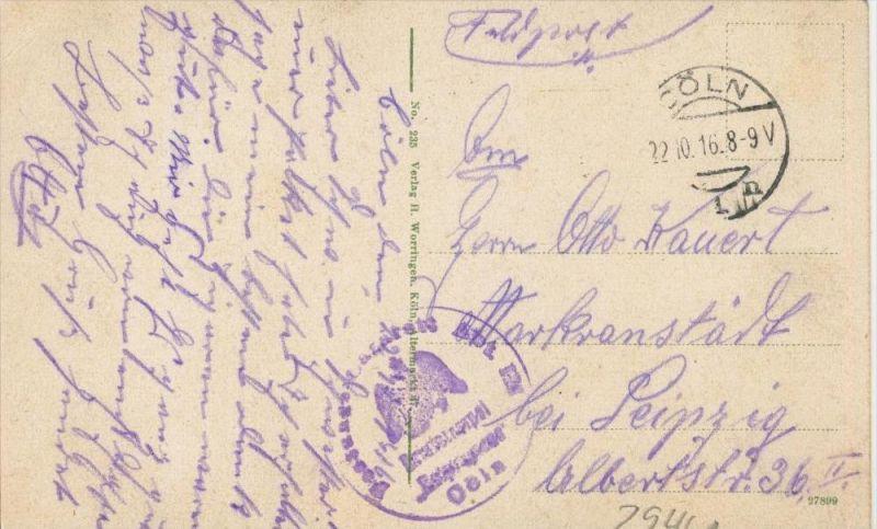 Köln v. 1916  Barbarossaplatz mit Hohenstaufenring   (1.W.-Feldpost-Stempel)  --  siehe Foto !!  (29461) 1