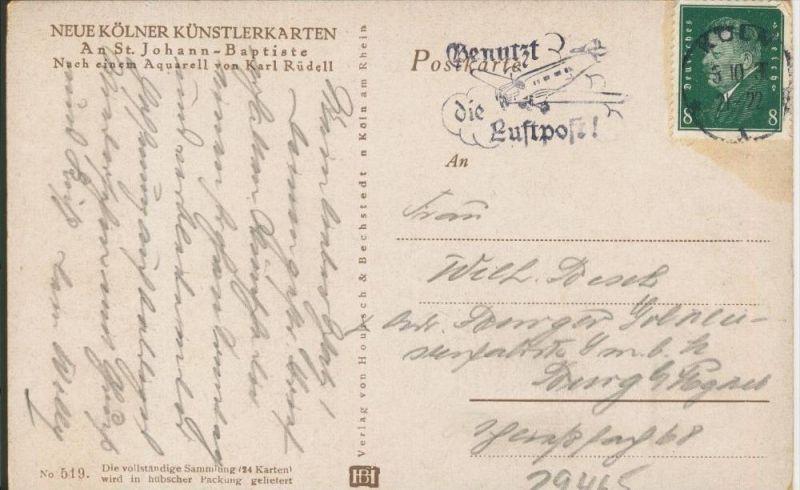 Köln v. 1930 An St. Johann - Baptiste  ()  --  siehe Foto !!  (29465) 1