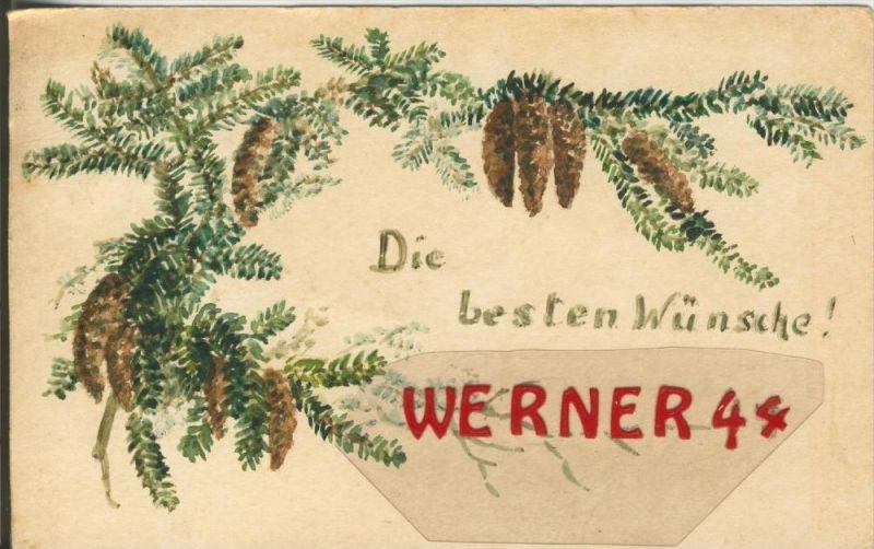 Neujahr v. 1922  Zweig mit Tannenzapfen   (Marke ansehen !)  --  siehe Foto !!  (29476) 0