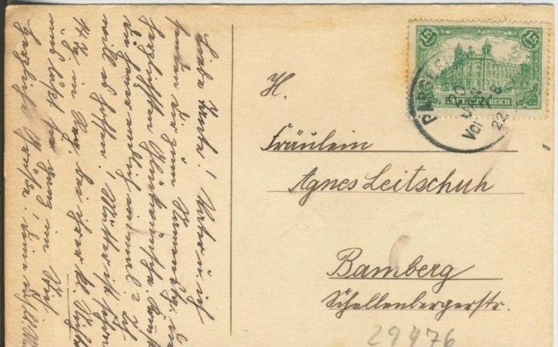 Neujahr v. 1922  Zweig mit Tannenzapfen   (Marke ansehen !)  --  siehe Foto !!  (29476) 1