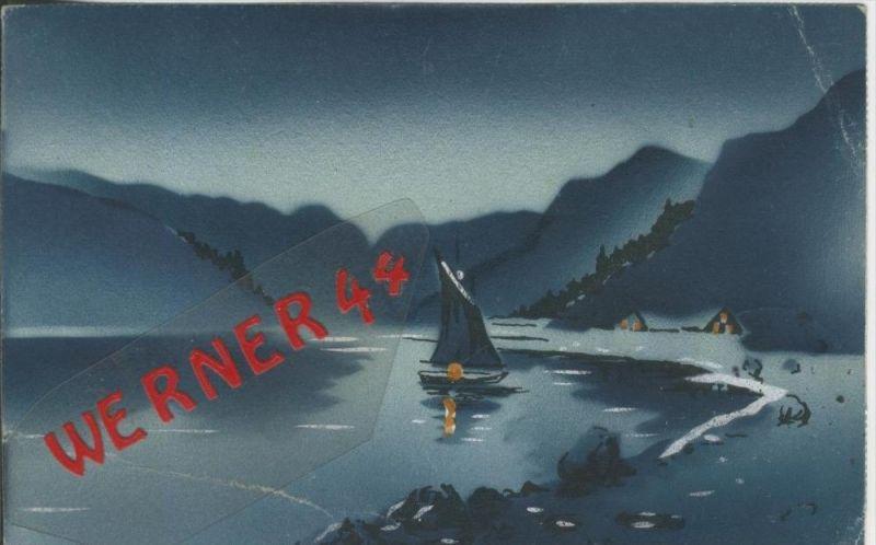 Landschaft in der Dämmerung v. 1915  (1.W.-Feldpost-Stempel)  --  siehe Foto !!  (29480) 0