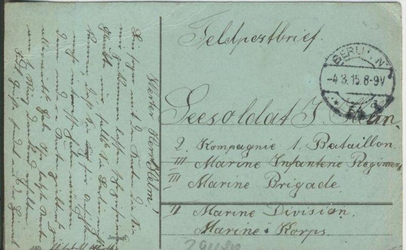 Landschaft in der Dämmerung v. 1915  (1.W.-Feldpost-Stempel)  --  siehe Foto !!  (29480) 1