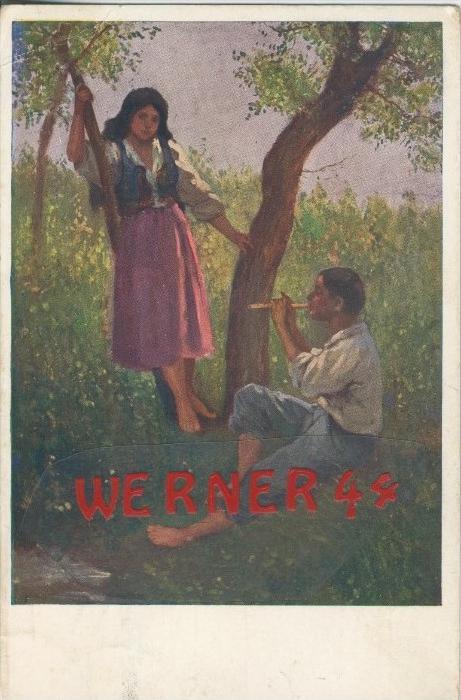 Junge spielt ein Mädchen was vör mit der Flöte v. 1916  ()  --  siehe Foto !!  (29486) 0