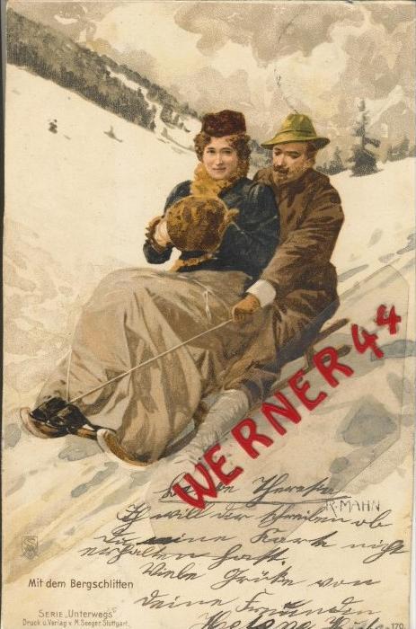 Paar auf dem Bergschlitten v. 1904   ()  --  siehe Foto !!  (29492) 0