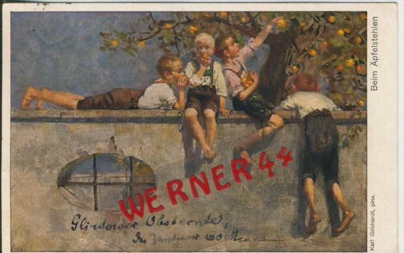Beim Apfel stehlen v. 1919   ()  --  siehe Foto !!  (29497) 0