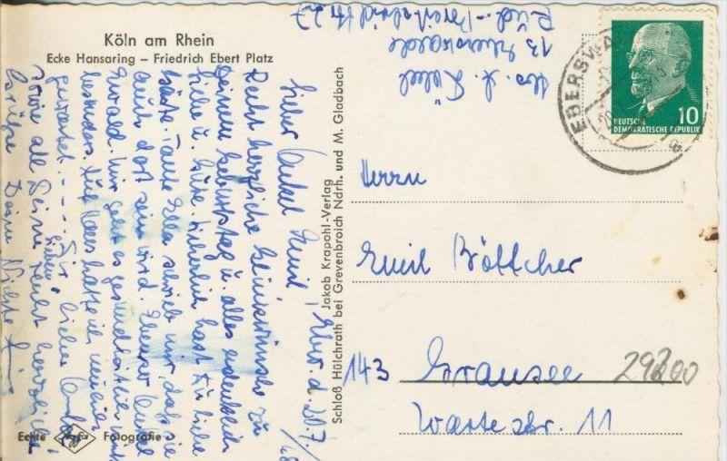 Köln v. 1963  Ecke Hansaring-Friedrich  Ebert Platz  --  siehe Foto !!  (29200) 1