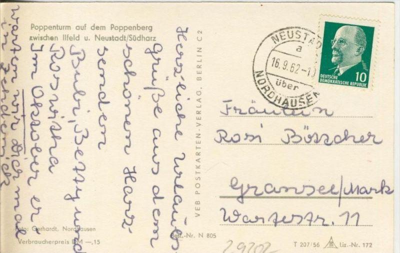 Neustadt / Südharz v. 1962  Poppenturm auf dem Poppenberg  --  siehe Foto !!  (29202) 1
