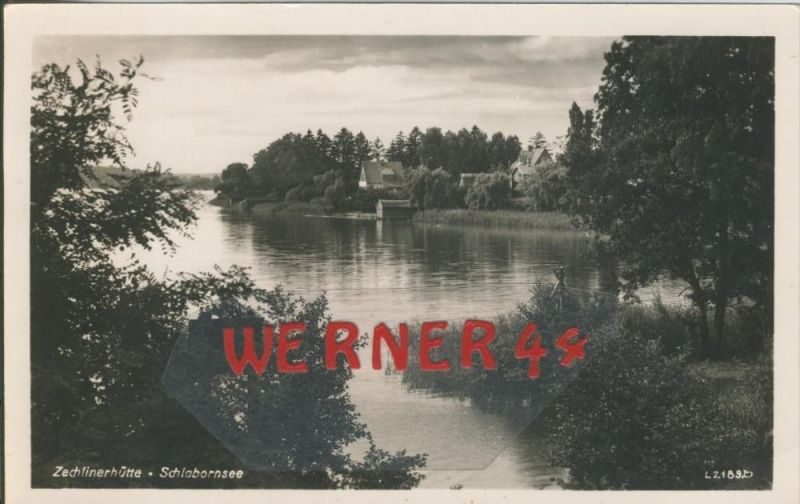 Zechlinerhütte v. 1957  Schlahornsee mit Teil Siedlung --  siehe Foto !!  (29209) 0
