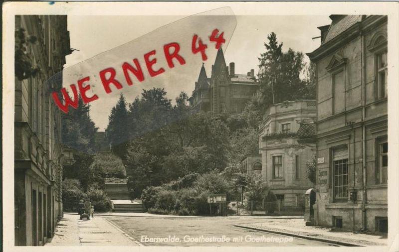 Eberswalde v. 1954  Goethestrasse mit Goethetreppe und Zigarrengeschäft  --  siehe Foto !!  (29220) 0