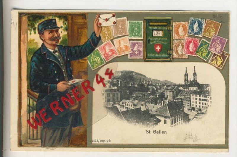 St. Gallen v. 1909 Teil-Stadt-Ansicht, Postbote und Marken in Prägedruck (30891)