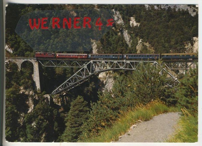 Höheweg Lötschberg-Südrampe v. 1974  Bietschtalbrücke mit Zug  (36727)
