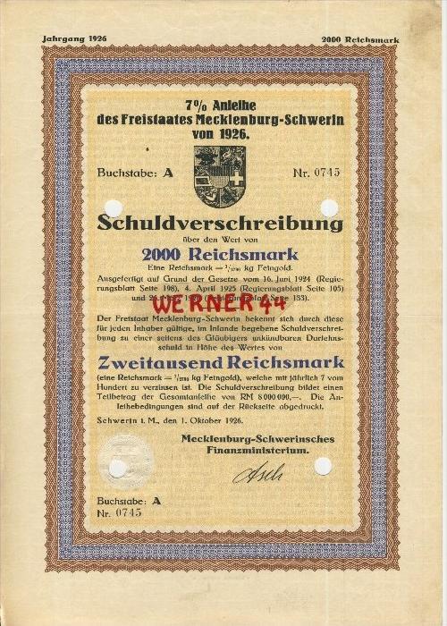 Anleihe des Freistaates Mecklenburg-Schwerin von 1926  Schuldverschreibung über 2000 Reichsmark   (40503)