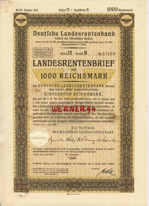 Deutsche Landesrentenbank Berlin von 1940  Landesrentenbrief über 1000 Reichsmark   (40521)