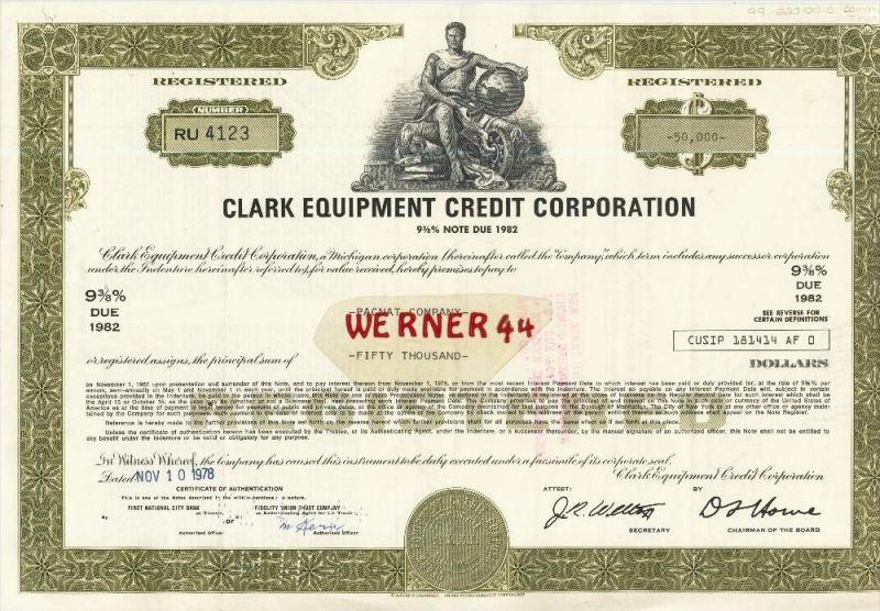 Clark Equipment Chredit Corporation von 1978  Nennwert 50000 Dollar  (40544)