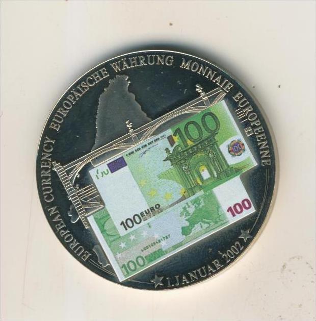 Gedenk Münze Euro Banknoten Prägung 100 Euro Schein V 2002 Color
