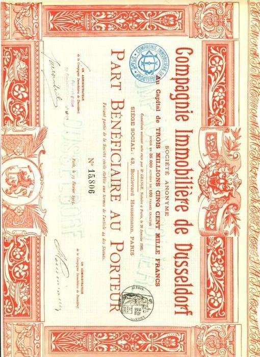 Aktie-Wertpapier ---- Conpagnie Inmobiliere de Dusseldorf (509)