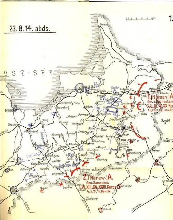 37. Inf. Div. ab 23.8.14 bei Lahna und Orlau / Ostpreußen -- 14 Landkarten im Block  (99999)