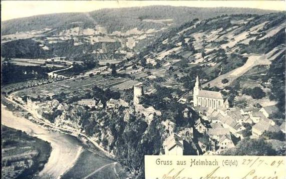 Gruss aus Heimbach von 1904  Teil-Stadt-Ansicht  ( 35981)
