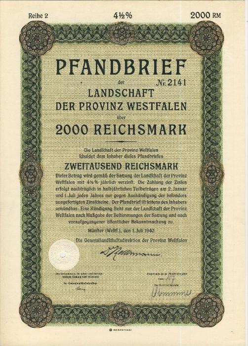 Pfandbrief v. 1940  Landschaft der Provinz Westfalen über 2000 Reichsmark  (43967)
