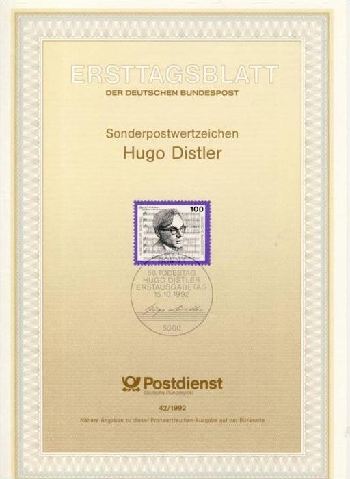 BRD - ETB (Ersttagsblatt) 42/1992 Michel 1637 - Hugo Distler- Wert
