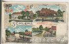 Gruss aus Schlenz v.1905  Schloss,Friedrich Bereiter`s Warenhandlung,Dorfstrasse,A. Dreilich`s Baugesch�ft  (5131)