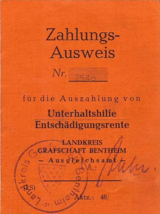 Nordhorn v.1951 Zahlungs-Ausweis (AG-029)