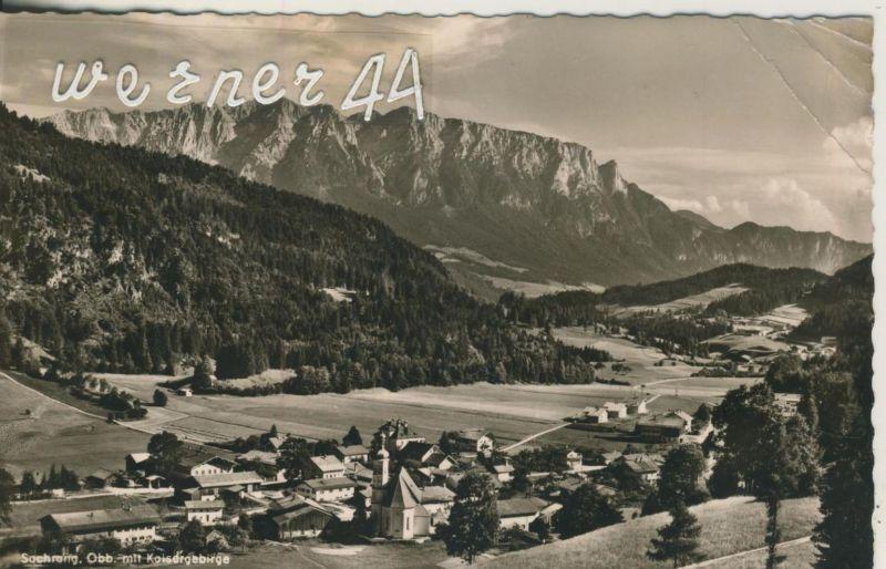 Sachrang v. 1954  Dorfansicht mit Kaisergebirge  (50485)