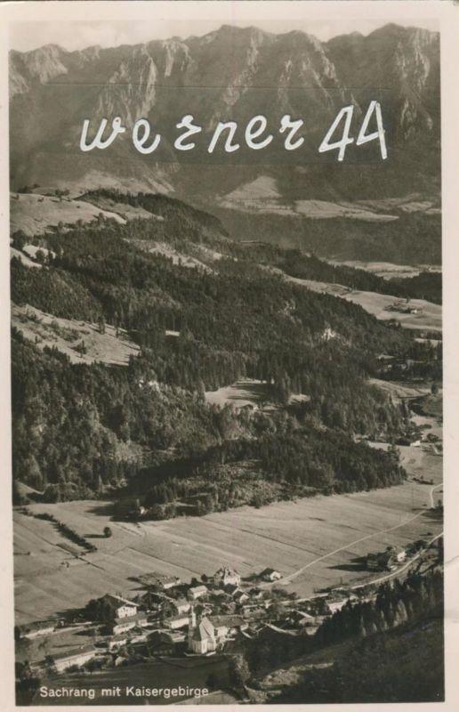 Sachrang v. 1954  Dorfansicht mit Kaisergebirge  (50484)