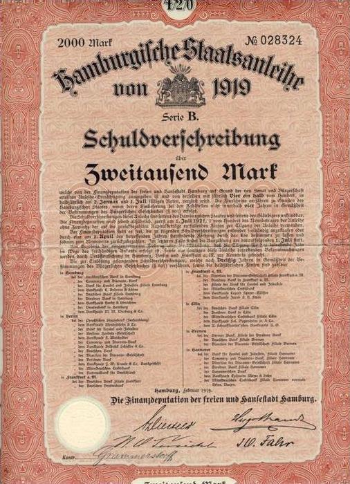 Hamburgische Staatsanleihe von 1919 --- Schuldverschreibung 2000 Mark
