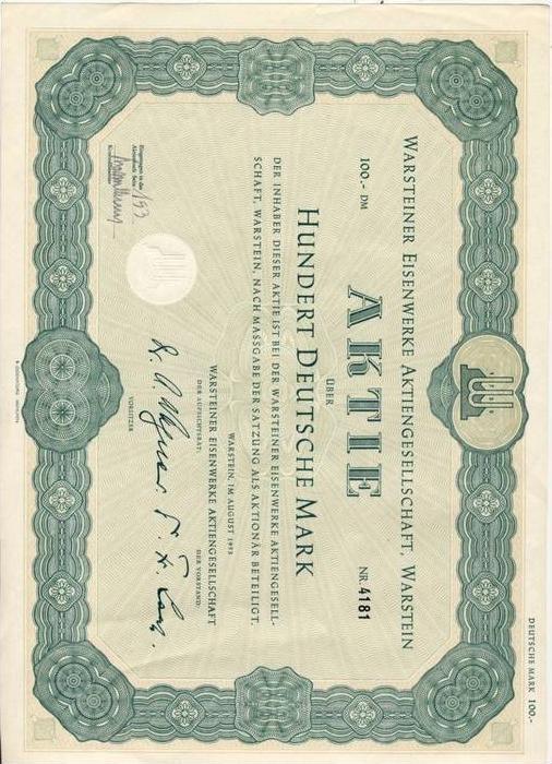Warsteiner Eisenwerke v. 1953 --- Aktie von 100 DM