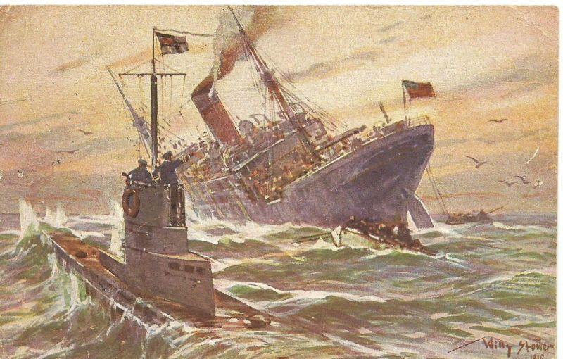 1. Weltkrieg v. 1915  Vernichtung eines engl. Handelsdampfersdurch ein deutsches Unterseeboot  (50703)